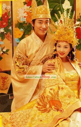 Chinese Golden Wedding Dress and Crowns 2 Sets for Brides and Bridegrooms