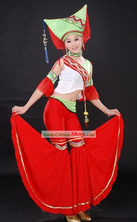 Chinese Ethnic Stage Performance Dance Costumes and Hat