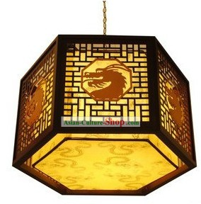 Chinese Classical Wooden Dragon Hanging Lantern