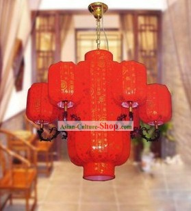 Lucky Red Chinese Dragon Lanterns Set