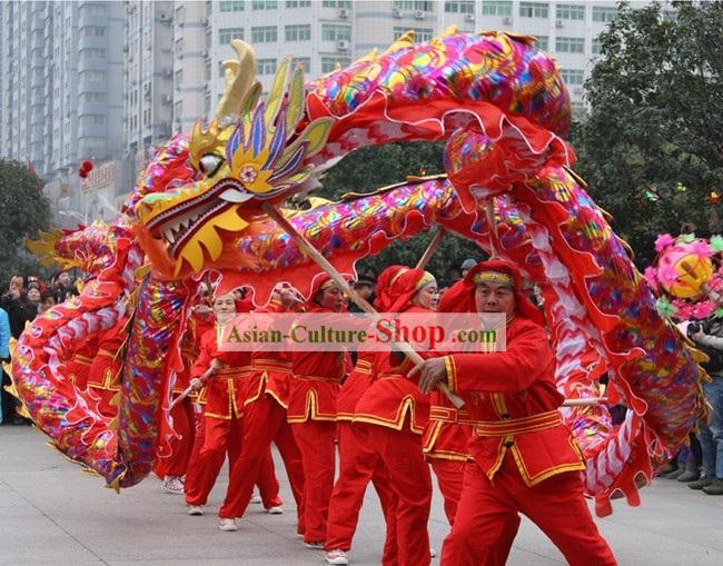 Chinese New Year Celebration Red Rainbow Competition and Parade Dragon Dance Costumes Complete Set