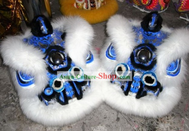 Classical White Long Wool and Blue Base Lion Dance Costume Complete Set