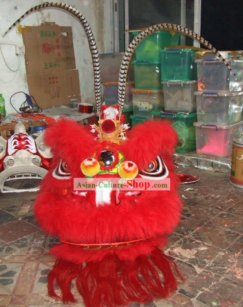 Beijing Opera Style Long Feather Lion Dance Costume Complete Set
