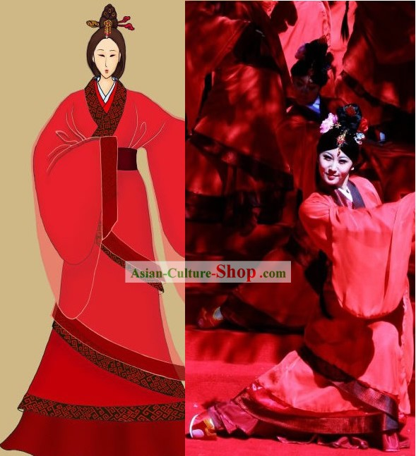Ancient Chinese Red Imperial Dance Costumes for Women