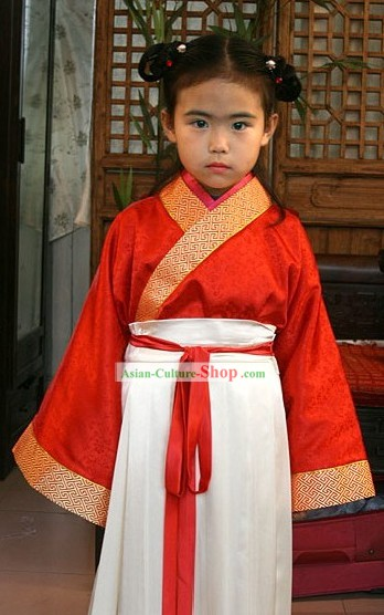 Ancient Chinese Red Festival Celebration Clothing for Kids