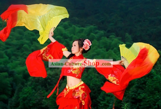 Qin Dynasty Chinese Princess Red Dance Costumes