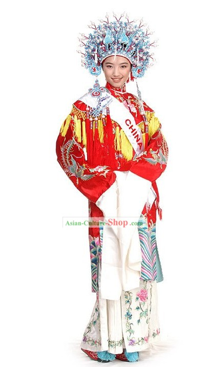 Traditional Chinese Beauty Peagant Contest Costumes and Phoenix Crown