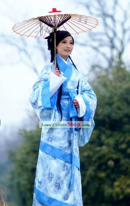 Ancient Chinese Han Dyansty Female Clothing and Umbrella Set