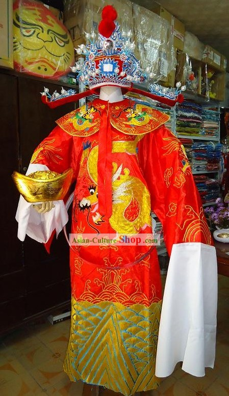 Traditional Chinese Cai Shen Costumes Complete Set with Beard and Gold