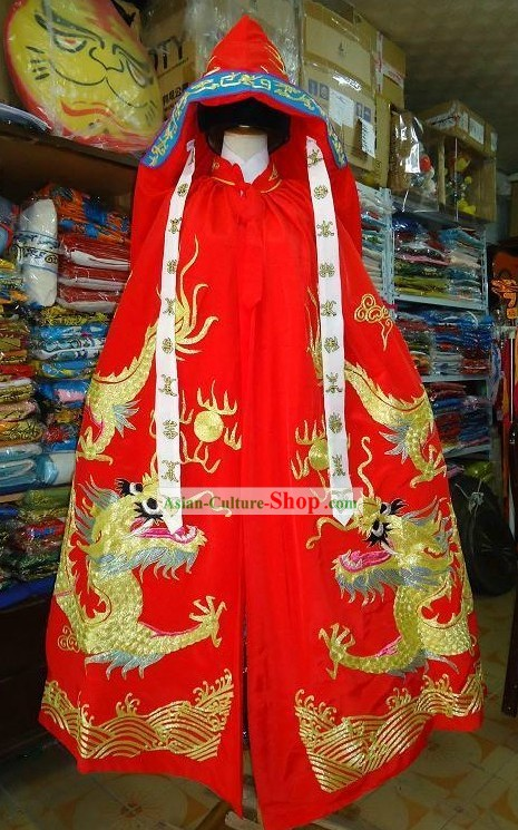Traditional Chinese Opera Golden Dragon Cape
