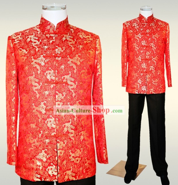 Traditional Chinese Wedding Dragon Suit for Men