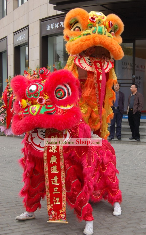 Business Opening Ceremony Orange and Red Lion Dance Costumes 2 Complete Sets
