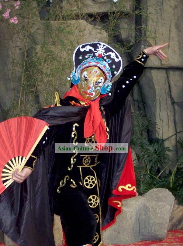 Traditional Chinese Sichuan Mask Changing Costumes, 10 Masks and Helmet Complete Set