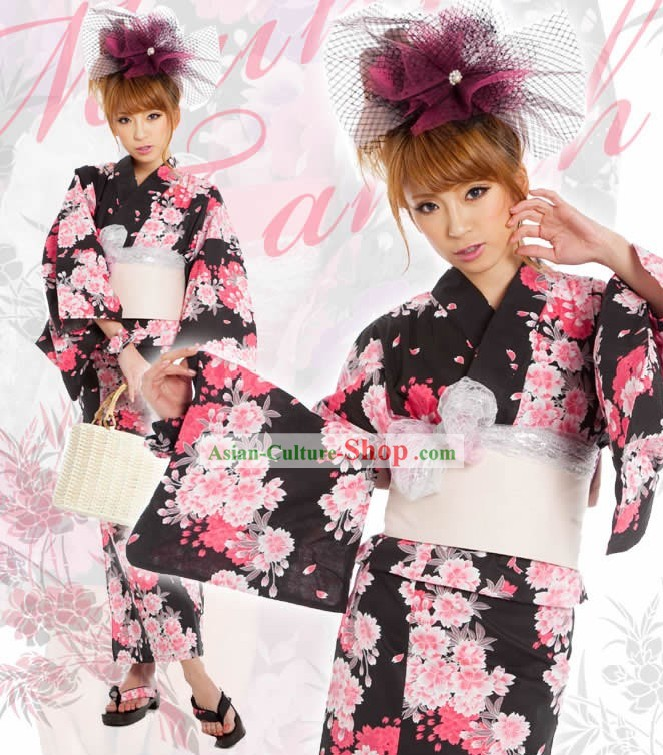 Japanese Yukata Clothes Complete Set for Women