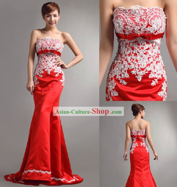 Stunning Chinese Red Bride Fish Tail Evening Dress