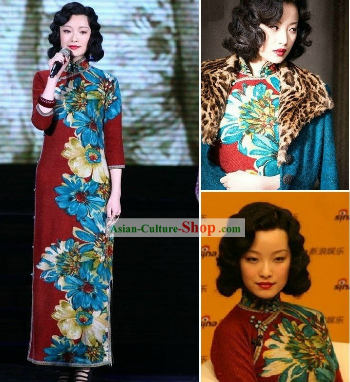 Old Shanghai Style Hand Painted Cheongsam for Women