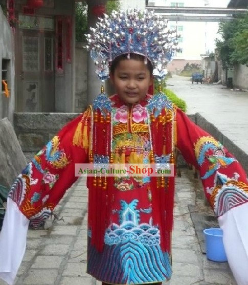 Chinese Peking Opera Embroidered Phoenix Robe and Coronet for Kids