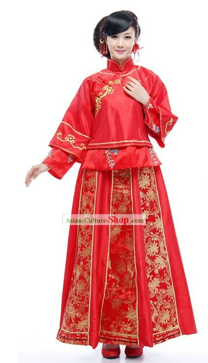Chinese Classical Mandarin Red Wedding Dress for Women