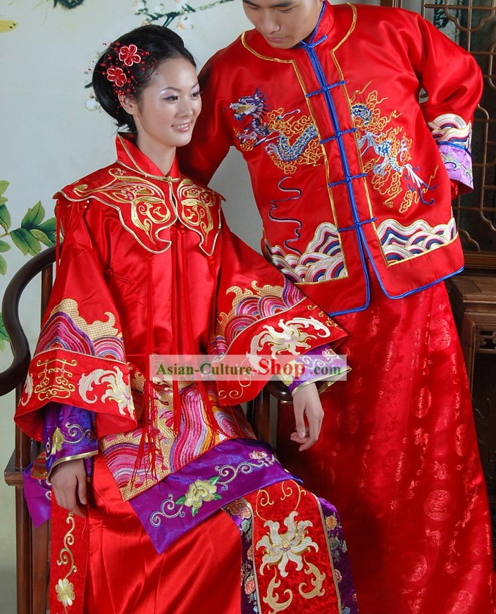 Stunning Chinese Red Dragon and Phoenix Wedding Dresses 2 Sets for Brides and Bridegrooms