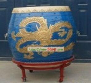 Traditional Chinese Blue Dragon Drum