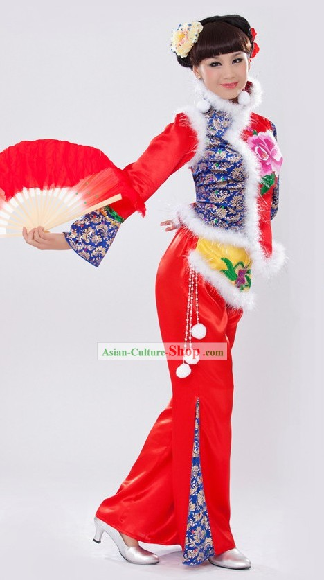 Traditional Chinese Lunar New Year Folk Dance Costume for Women
