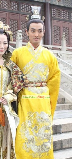 Ancient Chinese Emperor Costumes and Crown Complete Set