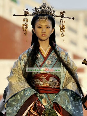 Ancient Chinese Princess Clothing and Headpiece