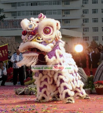 Supreme Luminous Glow in Dark Handmade Long Wool Lion Dance Costume Complete Set