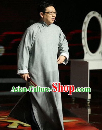Traditional Chinese Minguo Cross-talk Long Robe for Men