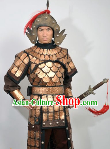 Ancient Chinese Fighting General Armor Costume and Hat for Men
