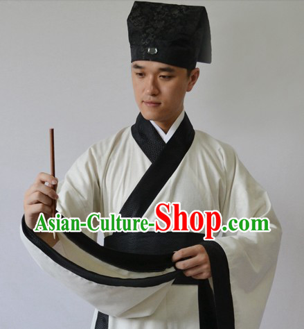 Ancient Chinese Tang Poet Li Bai Costume and Hat for Men