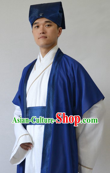 Ancient Chinese Husband Clothing and Hat for Men