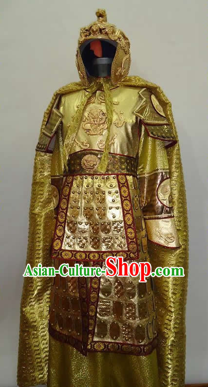 Ancient Chinese Golden General Armor Costume and Helmet for Men