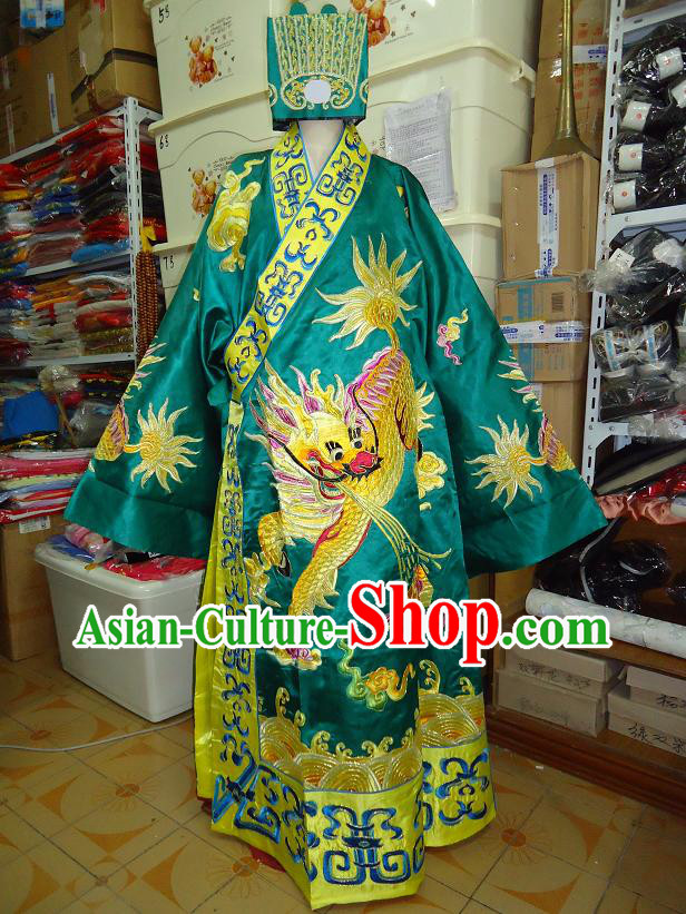 Ancient Chinese Embroidered Kylin Grand Tutor Costume and Hat for Men