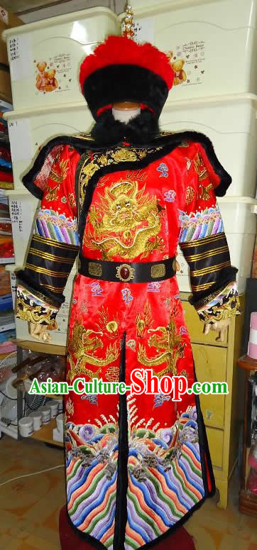 Chinese Palace Royal Emperor Wedding Dragon Robe and Crown Complete Set for Brides