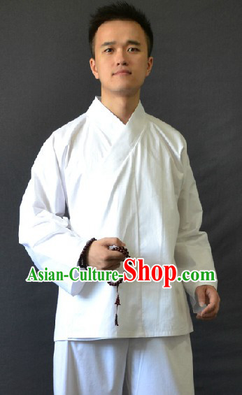 Chinese Classic White Zhong Yi Inside Dress for Both Men and Women