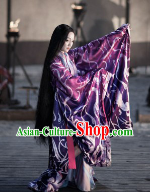 Ancient Chinese Beauty in Purple Costumes Complete Set