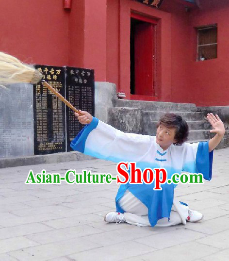 Traditional Chinese Blue and White Color Transition Tai Chi Clothes for Women
