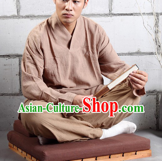 Traditional Chinese Monk Secular Devotee Meditiation Clothes Complete Set