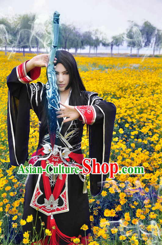 Black Ancient Chinese Swordsman Knight Costume Complete Set for Men