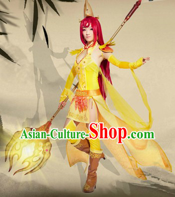 Ancient Chinese Female Fighter Costume and Headpiece for Women