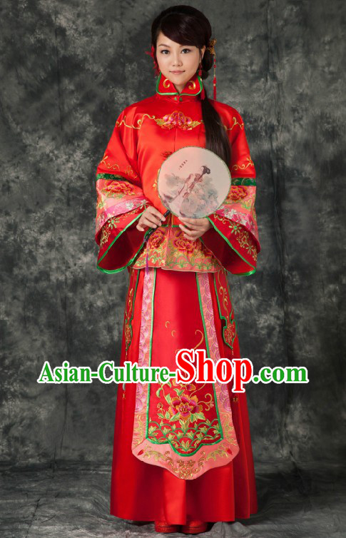 Traditional Chinese Royal Red Wedding Dress for Brides