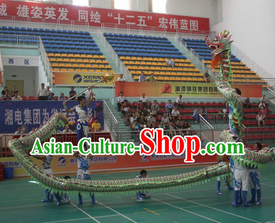 Chinese Classic Green Dragon Dance Costumes for Nine to Ten People