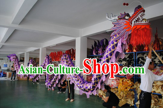 Shinning Purple Competition and Parade Dragon Dance Costumes for Nine or Ten People
