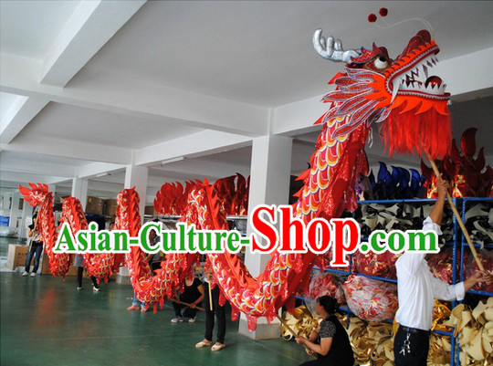 Shinning Red and Yellow Competition and Parade Dragon Dance Costumes