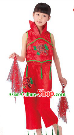 Traditional Chinese Handkerchief Dance Costume for Kids