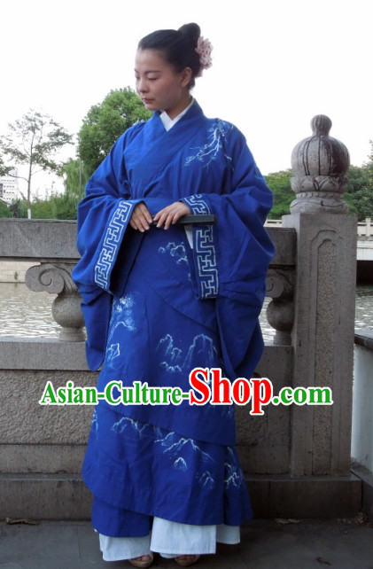 Hand Painted Moutain and Flower Quju Hanfu Clothing for Women