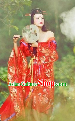 Ancient Chinese Alluring Woman Red Costumes for Ladies