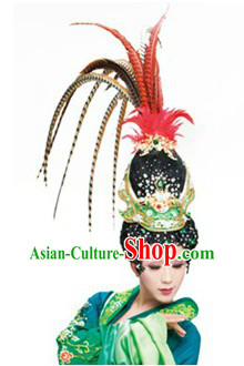 Ancient Chinese Beauty Stage Performance Wig and Headpiece