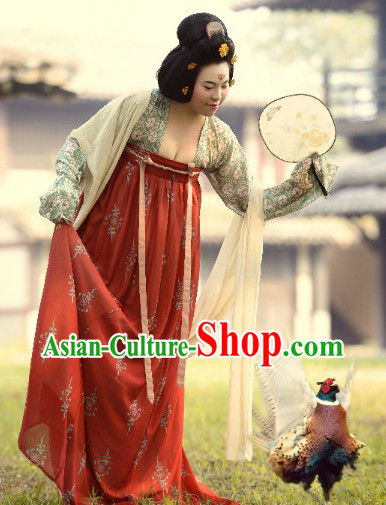 Ancient Chinese Tang Dynasty Lady Clothing Complete Set for Women